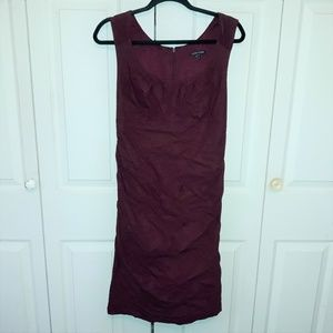 Eileen Fisher Burgundy Ruched Sleeveless Dress